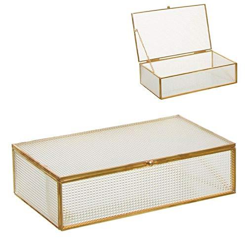 Vidal Regalos Caja Cristal Tallado Metalico Dorado Entrada Recibidor Almacenaje Elegante 24 cm