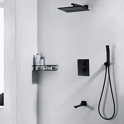 KAIBINY Cuadro Negro de Cobre Ducha termostática pre-incrustado en la Pared Oculta Ducha Hermoso Set práctica