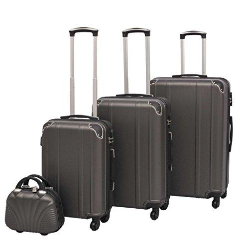 vidaXL Kofferset 4-TLG. Anthrazit Hartschalen Koffer Reisekoffer Set Trolley