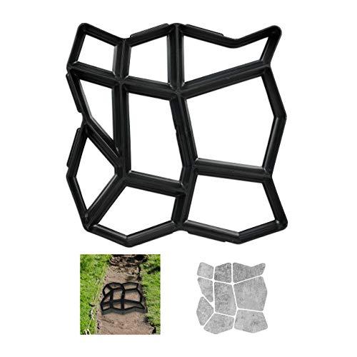 Relaxdays Pflasterform, 9 Kammern, HBT 4x42x42cm, Pflastersteine streichen, Garten Trittplatten, Beton Gießform, schwarz