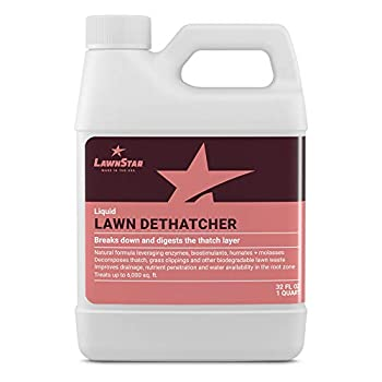 Liquid Lawn Dethatcher  32oz  - Convenient Alternative to Corded Electric Rake & Tow Dethatchers - Digests Thatch Layer Naturally Contains Humic Fulvic Seaweed & Molasses Pairs with Aerator