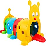 Kids Climb-N-Crawl Caterpillar Tunnel│Climbing Kids Play Structure Indoor/Outdoor│Children's Play Crawl Tunnel Toy│Expandable with Other Sets,10 Feet(US Spot,Multicolour) (Yellow)