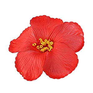 Toyvian Artificial Flowers Heads Hibiscus Hawaiian Flowers for Craft DIY Art Project Scrapbooking Tabletop Decoration Tropical Luau Party Favors Supplies Red