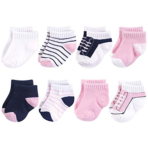 Yoga Sprout Unisex Baby No Show Socks, Light Pink and Navy 8Pk, 6-12 Months