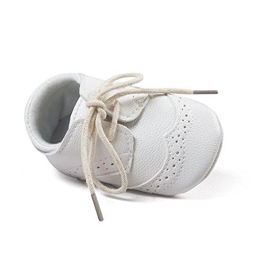 Matt Keely Bebé Niños niñas Suela Blanda Zapatos Bebe niña Infantil Zapatos con Cordones Blanco 6-12 Meses