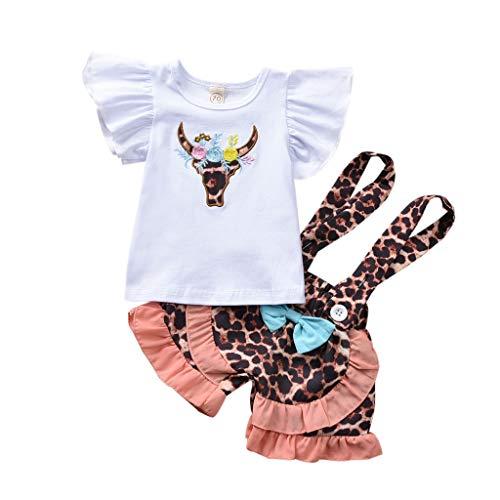 Moneycom❤T-Shirt de Bande dessinée pour bébé Nouveau-né bébé Filles Hauts Jarretelles Pantalons Shorts Tenues Orange(18-24 Mois)