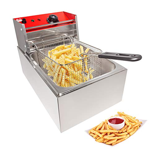 ALDKitchen Single Tank Deep Fryer | Electric Fryer for Commercial Use | Cooking, Frying and Warming | Stainless Steel | 110V (SINGLE)