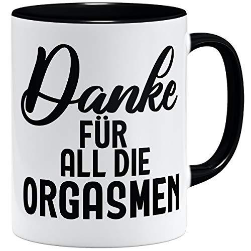 OM3® Danke für All die Orgasmen Tasse | Keramik Becher | 11oz 325ml | Beidseitig Bedruckt | Schwarz
