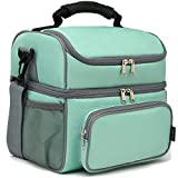 FlowFly Double Layer Cooler Insulated Lunch Bag Adult Lunch Box Large Tote Bag for Men, Women, With Adjustable Strap,Front Pocket and Dual Large Mesh Side Pockets,MediumAquamarine
