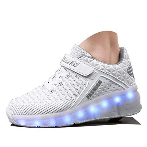 Aupast Patines de Ruedas LED Zapatos con Ruedas Zapatillas de Deporte con luz LED Zapatillas de Skate técnicas Gimnasia Zapatillas de Deporte Flash Luminosas al Aire Libre con Carga USB