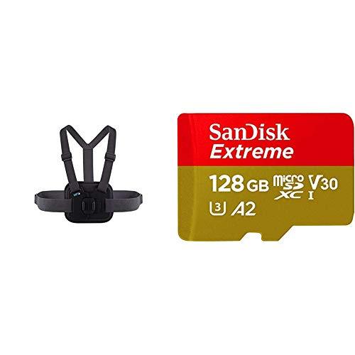 Chesty V2 - Fixation de poitrine pour l'action & Carte Mémoire microSDXC SanDisk Extreme 128 Go + Adaptateur SD avec Performances Applicatives A2 jusqu'à 160 Mo/s