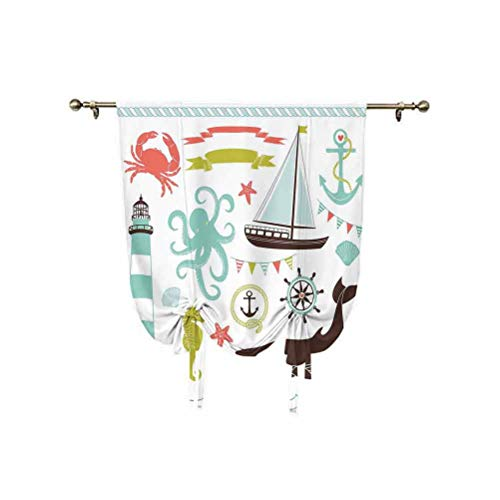 Albert Lindsay Backdrop Decor Roman Curtain,Decorative Illustrations Nostalgia Cartoon Artwork Seaside House Knot Light Adjustable Balloon Curtain Shade,55x63 Inch,for bathroom window