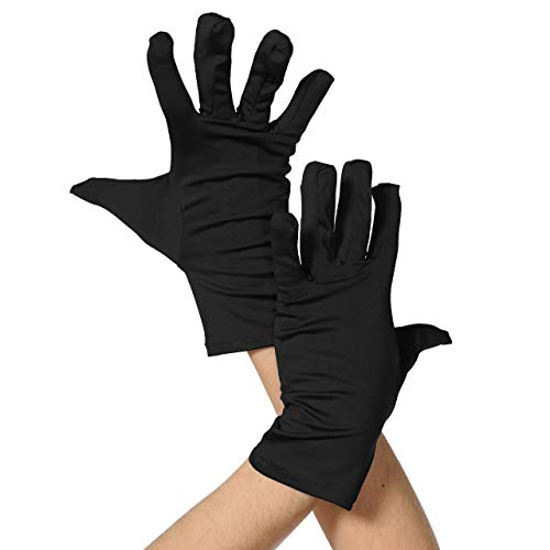 ALLNOWA Adult Unisex Wrist Length Spandex Full Finger Gloves Costume Glove One Size Fits All (Black)