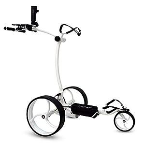 tour-made RT-610S Elektro Golftrolley Golfcaddy mit Lithium Akku Motorbremse schmaler Radstand Modell 2021 Qualität vom Deutschen Fachhändler (White-White)