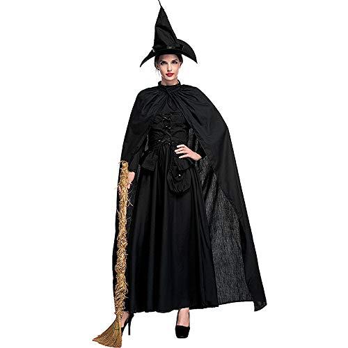 QAR Halloween Nuovo Stile Mantello Strega Fase Costume Puro Nero Strega Gioco Vestito Abbigliamento Femminile (Dimensioni : S.)