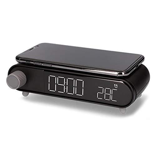 KSIX Reloj despertador retro con cargador inalámbrico rápido - 10W - Negro