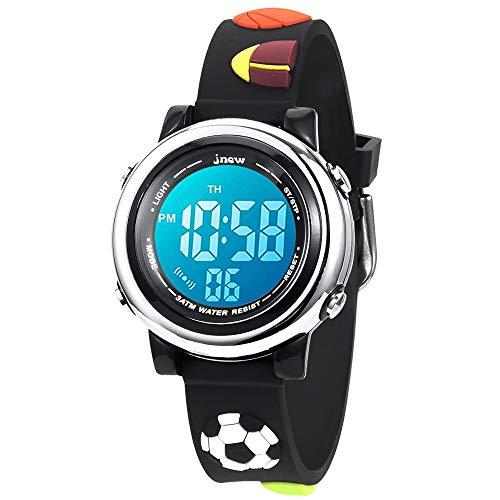 KZKR 3D Kinderuhr Jungen Sport Digital Armbanduhr 7 LED Silikon Quarz Analog Lernuhr Geschenk Uhr Lernuhr Fußball Kinder