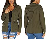 SheKiss Women's Zip Up Safari Military Anorak Jackets Camouflage Lightweight Outwear Coat with Pockets, Army Green, Small