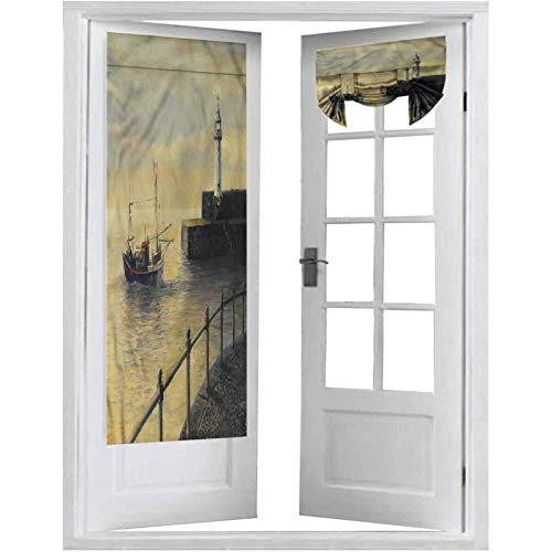 French Door Curtains, Lighthouse,Fishing Boat on The Pier, 1 Panel-26' X 68' Thermal Insulated Blackout Curtain Patio Door