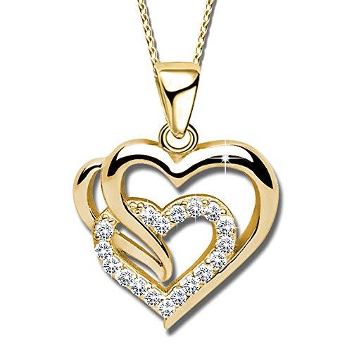 Damen goldene Herz Kette mit Anhänger echt 925 Sterling Silber mit Zirkonia Herzanhänger Halskette Anhänger Frauen K601 Gold + V11 50cm