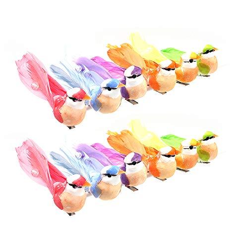 Namvo Artificial Colorful Birds, 12 Pcs Simulation Foam Feather Birds with Clip, Mini Cute Birds Ornaments DIY Craft for Christmas Tree Wedding Home Garden Party Decor