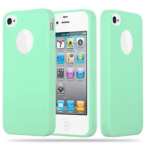 Cadorabo Funda para Apple iPhone 4 / iPhone 4S en Candy Verde Pastel - Cubierta Proteccíon de Silicona TPU Delgada e Flexible con Antichoque - Gel Case Cover Carcasa Ligera