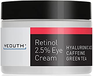 Retinol Eye Cream Moisturizer 2.5% from YEOUTH Boosted w/Retinol, Hyaluronic Acid, Caffeine, Green Tea, Anti Wrinkle, Anti Aging, Firm Skin, Even Skin Tone, Moisturize and Hydrate … (1oz)