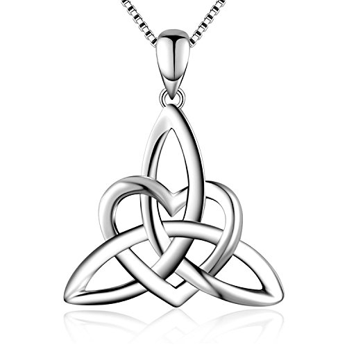 """S925 Sterling Silver Good Luck Irish Celtic Knot Triangle Vintage Love Heart Pendant Necklace for Women,Box Chain 18"""""""