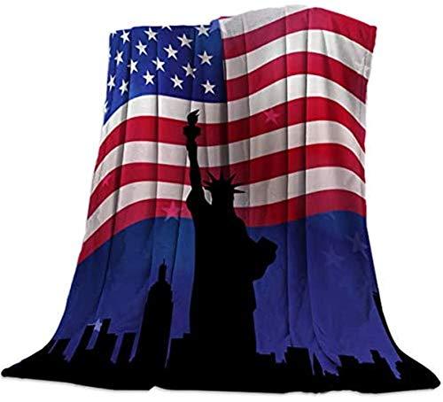 Manta de forro polar de franela, diseño retro de la bandera americana de la libertad, suave y acogedor, manta de cama de microfibra de lujo para sofá de sala de estar, oficina, 127 x 203 cm
