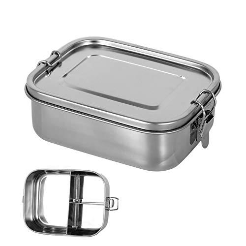 Fiambrera de acero inoxidable con compartimentos de metal, para adultos y niños, de acero inoxidable, con tapa, 1200 ml