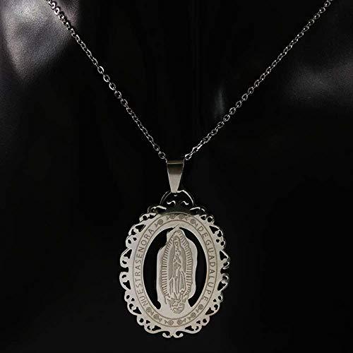 SWAOOS Collar Grande De La Virgen María De Acero Inoxidable, Joyería para Hombre, Collar De Madrina De Color Plateado A La Moda, Accesorios, Regalo