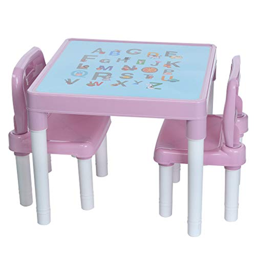 InKach Kids Table Chairs Set - Plastic Toddler Boys Girls 1 Activity Table and 2 Reading Chairs for Playroom Study Desk Indoor Outdoor Train Square Table (Pink - Interesting Alphabet, Kids-Sized)