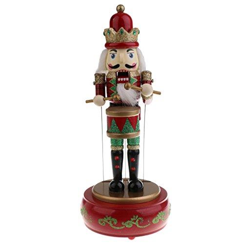 perfeclan Traditioneller Holzpuppe Nussknacker Soldat / Schlagzeuger Spieluhr Spieldose Weihnachtsdekoration Rot