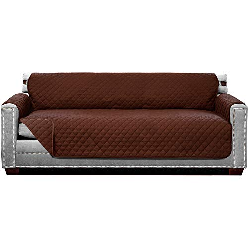 Sofa Shield Original Patent Pending X-Large Oversized Sofa Slipcover, Many Colors, Seat Width to 78 Inch, Reversible Furniture Protector with Straps, Couch Slip Cover Throw for Dog, Pets, Chocolate