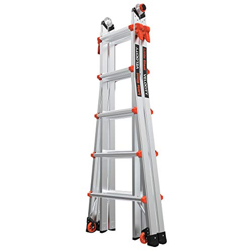 Little Giant Ladders, Velocity with Wheels, M22, 22 Ft, Multi-Position Ladder, Aluminum, Type 1A, 300 lbs Weight Rating, (15422-001)