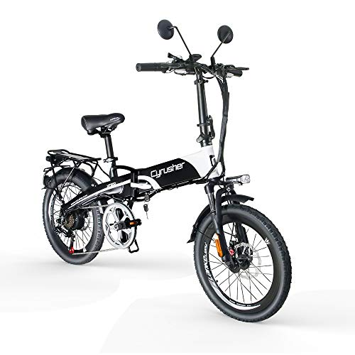 Extrbici XF500 Electric Folding Bike 400W 48V 10A Li-Battery 20 Inch Tire 50CM Aluminum Alloy Frame 7 Speed Shimano Shift Gears 5 Setting Smart Computer Double Disc Brakes with Rear Rack for Commuting