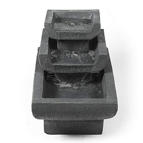Winsome House Luxen Home Cement Modern Three-Tiered Basin Patio Fountain with LED Lights