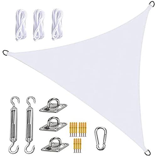 QYQS Shade Sails, 13x13x13ft Sun Shade Sail, Block UV Resistente A La Intemperie, con Kit de Fijación para Jardín, Patio, Piscina, área de Barbacoa(Size:4X4X4m,Color:Blanco)