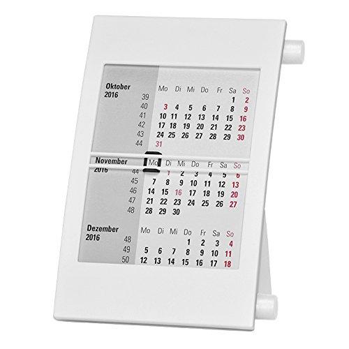 Truento 3-Monats-Tischkalender für 2 Jahre (2020 & 2021) - mit Drehmechanik - weiß/weiß