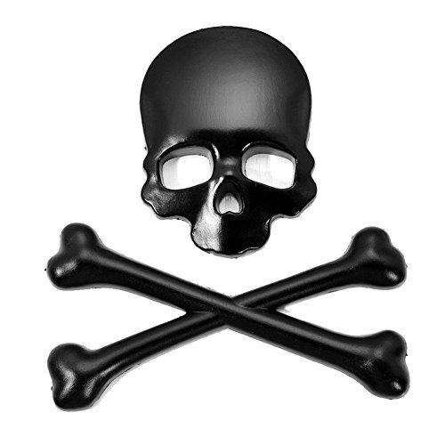 xinyiwei Fashion 3d calavera Skull Bone emblema Decals Metal coche pegatinas, negro, 9x8.5cm