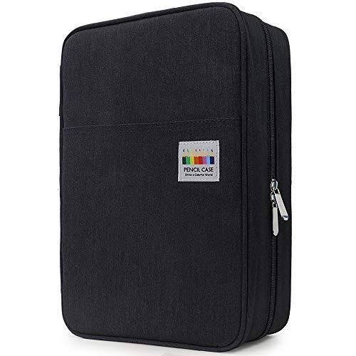 YOUSHARES Big Capacity Colored Pencil Case - 300 Slots large Pen Case Organizer with Multilayer Holder for Prismacolor Colored Pencils & Gel Pen (Black)