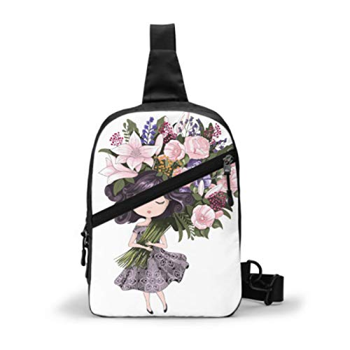 Sling Bag Chest Shoulder Backpack,Cute Girl Flowers Children School Books Men Women Waterproof Crossbody Bag Chest Pack for Casual Sport Travel Hiking Cycling