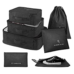 ✈【7 SET PACKING CUBES】3 different size packing cubes, 2 different size zippered bag for toiletry or small stuff, 1 shoe bag, 1 drawstring laundry bag, can make free combination of these set of packing cubes,Easy to pack your luggages well in your 21-...