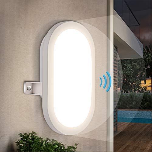 LED Wandleuchte mit Bewegungsmelder, Oraymin 10W Wandlampe mit bewegungsmelder, IP44 Wasserfest Sensor lampe für Diele Garage Keller Flur Balkon Treppe, Neutralweiß 4000K