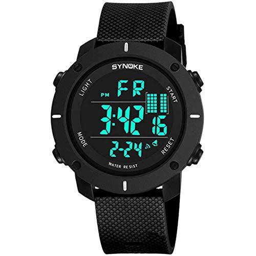 WSSVAN Al aire libre multifunción para hombre reloj deportivo digital pantalla LED de gran dial mesa militar doble acción impermeable luminosa reloj militar simple alarma (Negro)
