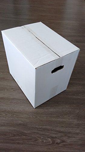 Falt-, Umzugs-, Versandkarton 30 Stück 380 x 280 x 350 mm außen weiß mit Handgriffen 2-wellig stabil (Qualität 2.50bc bis 50 kg) passend für EUR-Palette und DPD Paketgröße M