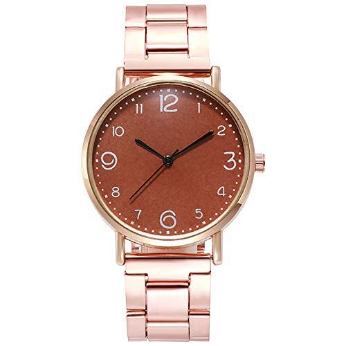 JZDH Relojes para Mujer Relojes de Mujer Red Casual con Estrellas Decoración Reloj de Pulsera Moda Wild Belt Watch Relojes Decorativos Casuales para Niñas Damas (Color : Brown)