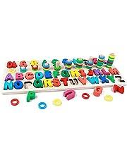 Träalfabet och siffror pusselleksak för barn – nummer 1-10 och ABC-bokstäver Montessori Pussel – Färger stapling, formsortering, tidig utbildning leksak