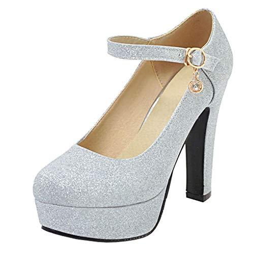 Femany Mary Jane Damen Blockabsatz Pumps mit Glitzer und Riemchen High Heels Plateau Pailletten Schuhe (Silber,39)