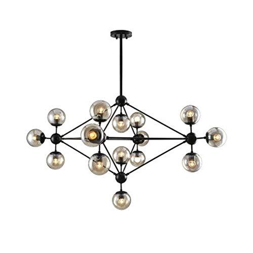 LYEJFF Moderne kreative molekulare Leuchter-Beleuchtung, nordische Schwarze Eisen-Glaskugel-mehrarmige Deckenleuchte-Lampen für Wohnzimmer-Esszimmer-Schlafzimmer-Studie-15arms
